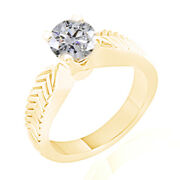 0.98 Ct Simulated Round Vintage Solitaire Ring 14k Yellow Gold