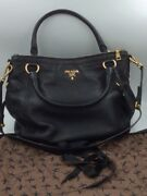 Used Prada Milano Black 1818 Pebbled Leather With Brass Buckle Large Bag