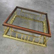 Glass Wood Brass Fireplace Fender Style Large Square Coffee Table Erwin Lambeth