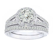 2.25 Ct Genuine Moissanite Vintage-style Bridal Set Ring In Sterling Silver
