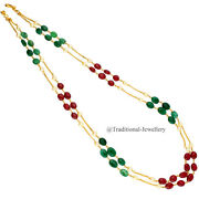 22kt Gold Pearls Ruby Emerald Bead Stone Gold Chain Girl Women Necklace Chain