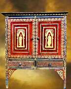 Antique Thai Buddhist Hand Painted Red Gold Buddha Wood Cabinet Spiritual Altar