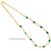 22kt Gold Emerald And Pearls Chain Women Necklace Chain Custom Size Available 1