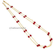 22k Gold Ruby Pearl Beads Bead Chain Necklace For Women Jewelry Gift Custom Size