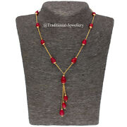 22k Gold Ruby Beads Bead Chain Necklace For Women Jewelry Gift Custom Size 2