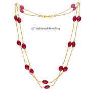 22k Gold Ruby Beads Bead Chain Necklace For Women Jewelry Gift Custom Size 3