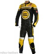 Lucky Strike Red Yellow White Motorcycle Leather Jacket And Trouser Pant 2 Pc Suit