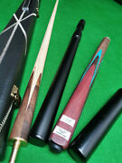 New 3/4 Piece Handmade Ash Snooker/pool Cue Set W/ Case Extension Rosewood