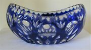 Case Crystal, Color Cut To Clear,7 Blue Oval Bowl, German Crystal 24 Lead