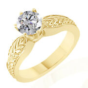 7.31 Ct Simulated Ideal Cut Round Vintage Ring 18k Yellow Gold