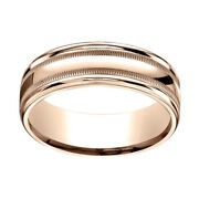 14k Rose Gold 7mm Comfort-fit High Polished With Milgrain Band Ring Sz-10