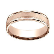 14k Rose Gold 6mm Comfort-fit Satin Finish Center With Milgrain Band Ring Sz-7