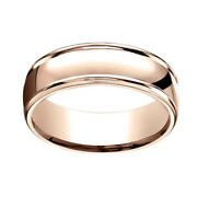 14k Solid Rose Gold 7mm Comfort Fit High Polish Round Edge Band Ring Sz 7