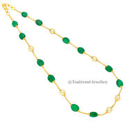 22kt Gold Emerald Bead Southsea Pearls Chain Women Necklace Chain Custom Size 6