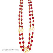 22kt Gold Ruby And Southsea Pearls Chain Women Necklace Chain Custom Size 6