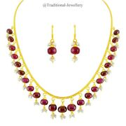 22k Gold Hanging Ruby Beads Pearl Bead Chain Necklace For Women Jewelry Gift