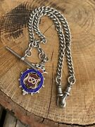 Antique Silver Victorian Chain Each Link Stamped. Enamel Fob Pendant Dogclip.