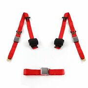 Chevy Impala 1958 Airplane 3pt Red Retractable Bench Seat Belt Kit - 3 Belts Rod