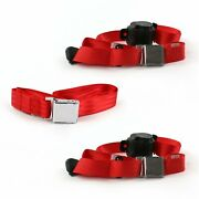 Ford 1941 - 1948 Airplane 3pt Red Retractable Bench Seat Belt Kit - 3 Belts Rat