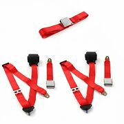 Chevy Ii 1962-1965 Airplane 3pt Red Retractable Bench Seat Belt Kit - 3 Belts V8