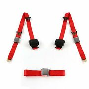 Ford Van 1961-1967 Airplane 3pt Red Retractable Bench Seat Belt Kit - 3 Belts