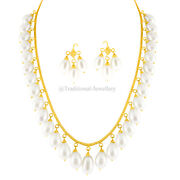 22k Gold Pearl Beads Bead Chain Necklace For Women Jewelry Gift Custom Size 2