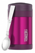 Thermos Insulated Food Jar 470ml Stainless Steel, Extra Wide Mouth Pink