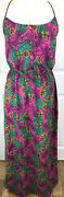 George Pink Multi Exotic Fruit Strappy Crochet Back Maxi Long Dress Uk10 A22