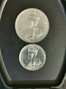 King George 1917 One Rupee C And Half Rupee B Mint Two British India Coins