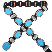Navajo Sterling Blue Turquoise Silver Hammered Concho Belt