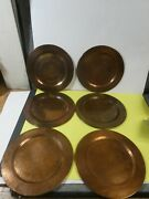 Set Of 6 Solid Hammered Copper Chargers Plates 11.75