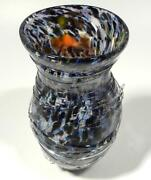 Hand Blown Glass Art Vase, Dirwood, End Of Day, Black Red Blue Pink Aqua More