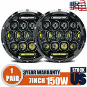 7 Round Led Headlights Black Housing Lamp For Peterbilt 379 Exhd359 Old Style