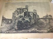Antique Etching By Luigi Rossini Rome Italy 19th 1820 Painting M813