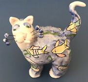 Very Early Piece 2001 Whimsiclay Cat By Amy Lacombe - Tropical Fish Cat