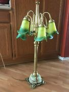 Used Vintage Green Glass Tulip Table Lamp W/ Brass And Onyx Base Local Pickup Only