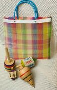 Trompo, Toma Todo, Valero, Spinning Tops Combo With Mesh Bag Classic Wooden Toys