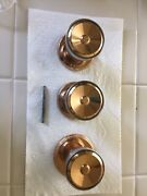 Lot 3 Copper And Chrome Dummy Door Knobs, Bolts From The Back Like Cabinet Knob