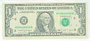 1988-a 1 Us Note Gem Unc Fancy 7 Of A Kind H 44444440 B 7/8 Near Solid Serial