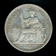 1899a French Indo-china Piastre De Commerce Coin Silver Francaise Km5a.1