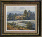 Doug Sealy 1937- Original Oil Painting Cattle At Macdonald River St Albans