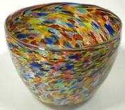 Very Large Hand Blown Glass Art Bowl / Vase - Italian Style - End Of Day Glass