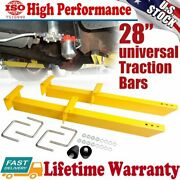 A Pair Summit Racing 770501 Yellow Universal Leaf Spring Traction Bars 28 Inch