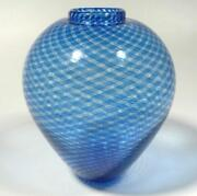 Hand Blown Glass Vase Dirwood Complex Reticello Cane Shades Of Blue N3182