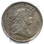 1804 C-8 Lds Pcgs Au 53 Spiked Chin Draped Bust Half Cent Coin 1/2c