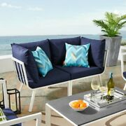 Navy Blue Patio Sectional Outdoor With Cushions White Frame