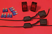 2 Red Illuminated 12v Rocker Accessory Switches W/fuse Holders And Fuses