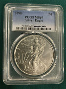1996 American Silver Eagle Pcgs Ms69 -- Key Date To The Series -- Spot Free