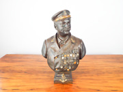 Antique Signed Bronze Military Sculpture Ed Devaulx French Admiral Ce Sellier
