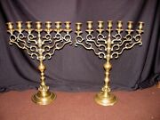Pair Antique Russian Brass Candleabras 19th Century